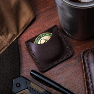 brown challenge coin pouch